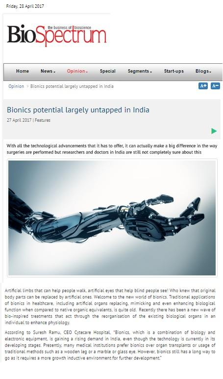 Bionics Technology Potential Largely Untapped in India