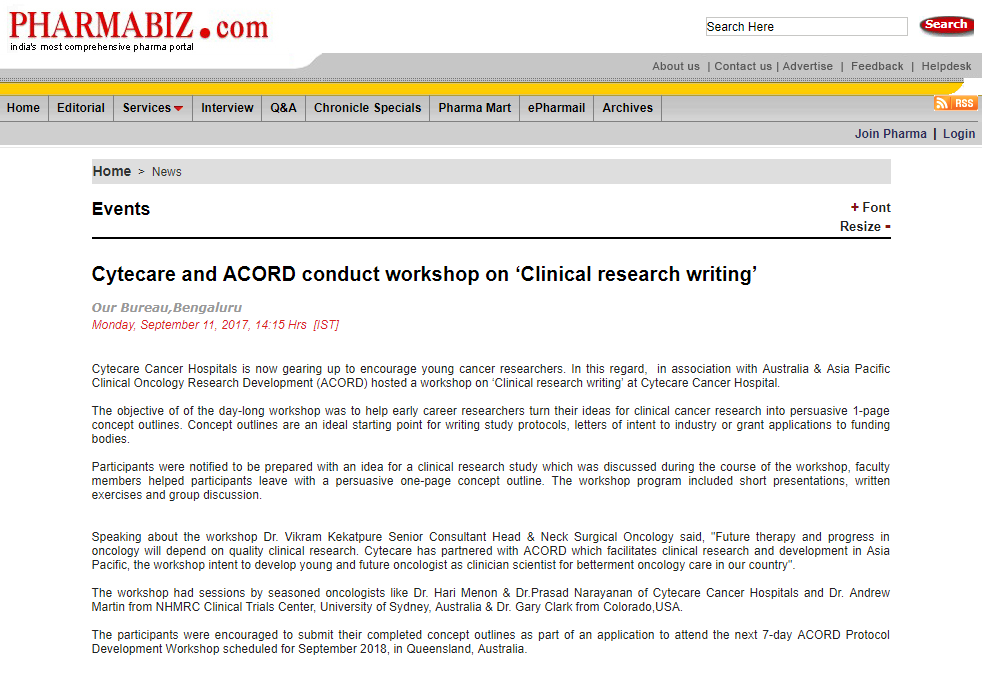 Cytecare and ACORD conduct workshop on Clinical research writing