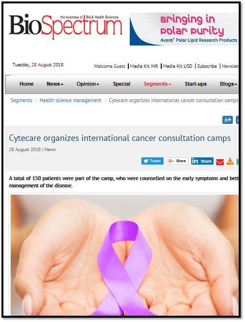 Cytecare organizes international cancer consultation camps