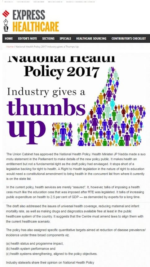 National Health Policy 2017 Industry gives a Thumps Up