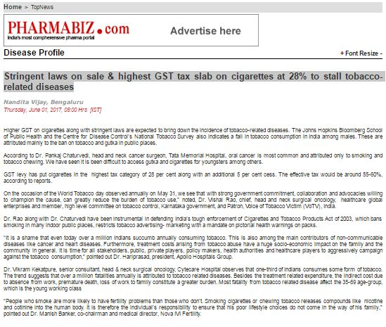 Stringent laws on sale and highest GST tax slab on cigarettes at 28% to stall tobacco-related diseases