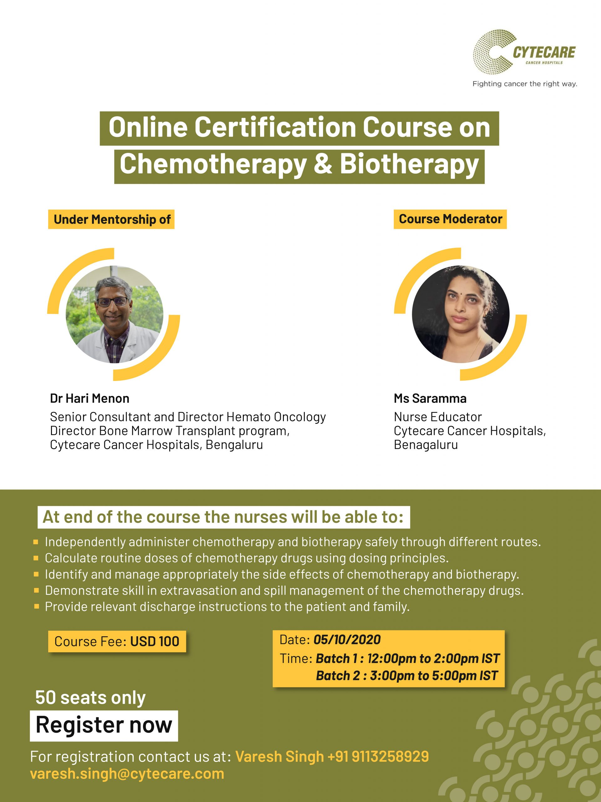 Online Certification Course on Chemotherapy & Biotherapy