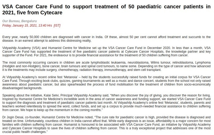 VSA Cancer Care Fund to support treatment of 50 paediatric cancer patients in 2021, five from Cytecare