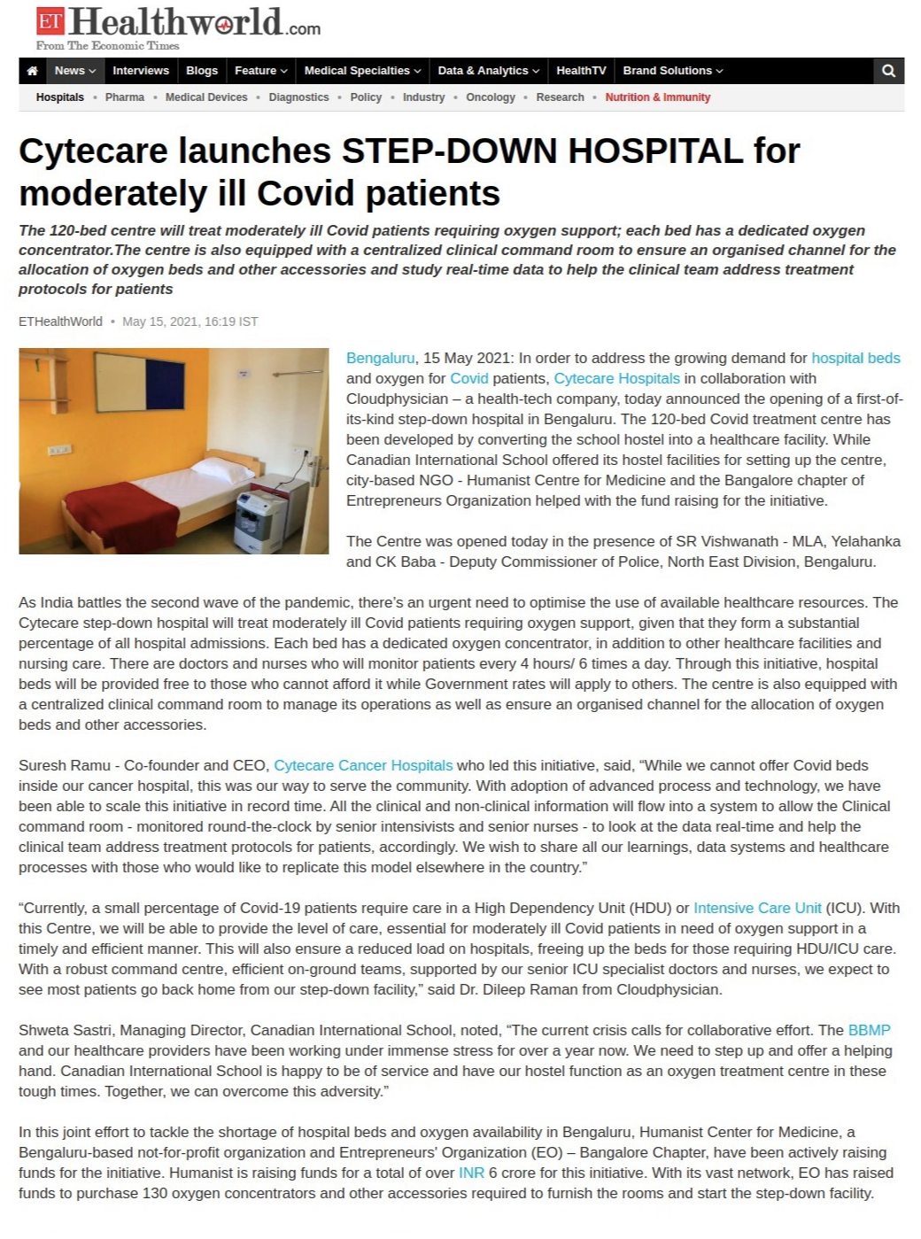 Cytecare launches STEP-DOWN HOSPITAL for moderately ill Covid patients
