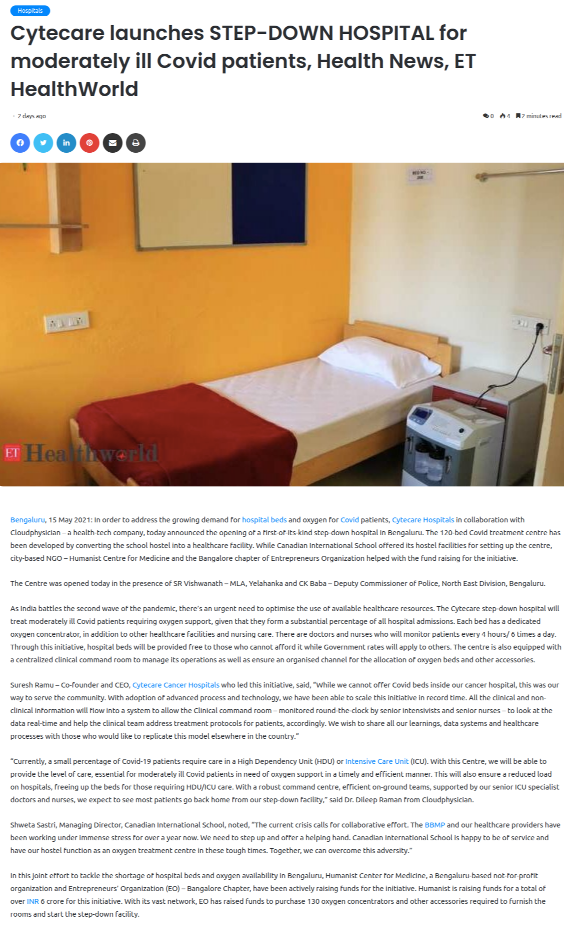 Cytecare launches STEP-DOWN HOSPITAL for moderately ill Covid patients, Health News, ET HealthWorld