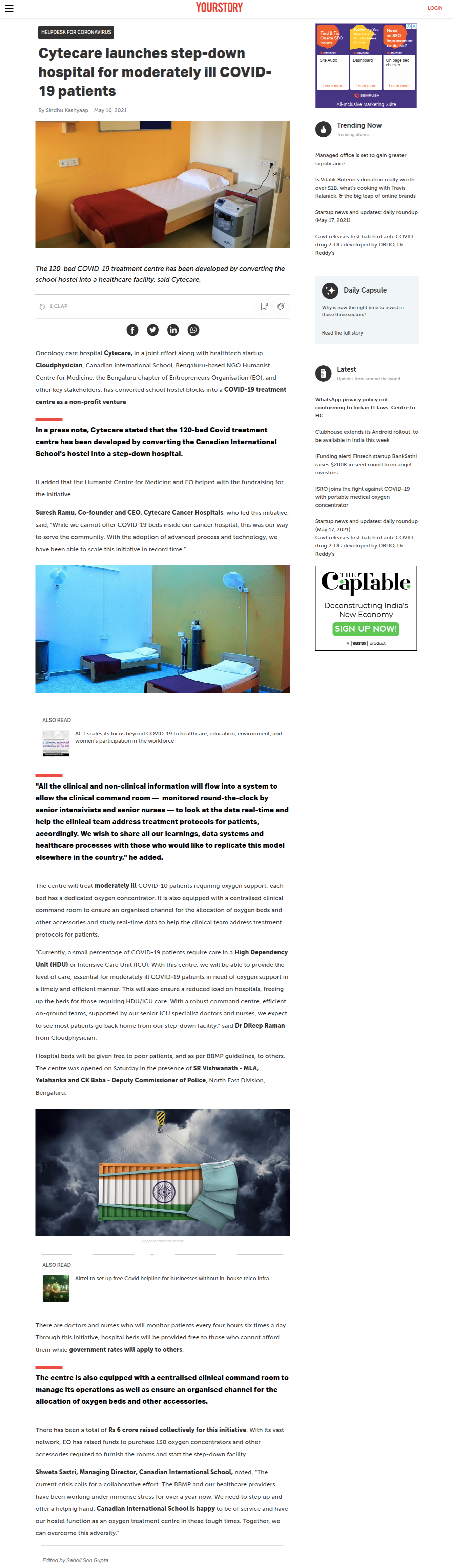 Cytecare launches step-down hospital for moderately ill COVID-19 patients